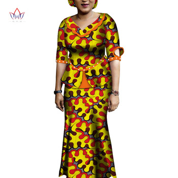 African Traditional Clothing Half Sleeve Ankara Women Clothes Two Piece Set Long Party Dresses Plus Size WY6212