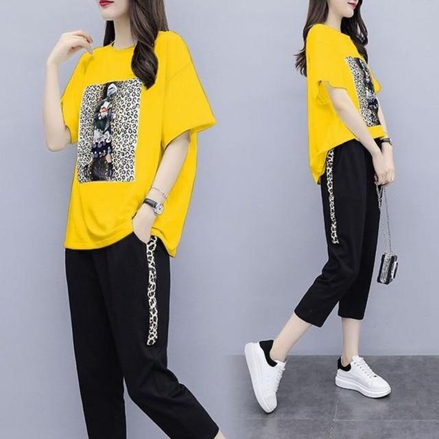 Summer Women's Black Oversize Tracksuits Casual Pantsuit Set Short Sleeve Tops Fashion Sportswear Calf-Length Pants Size 5XL 4