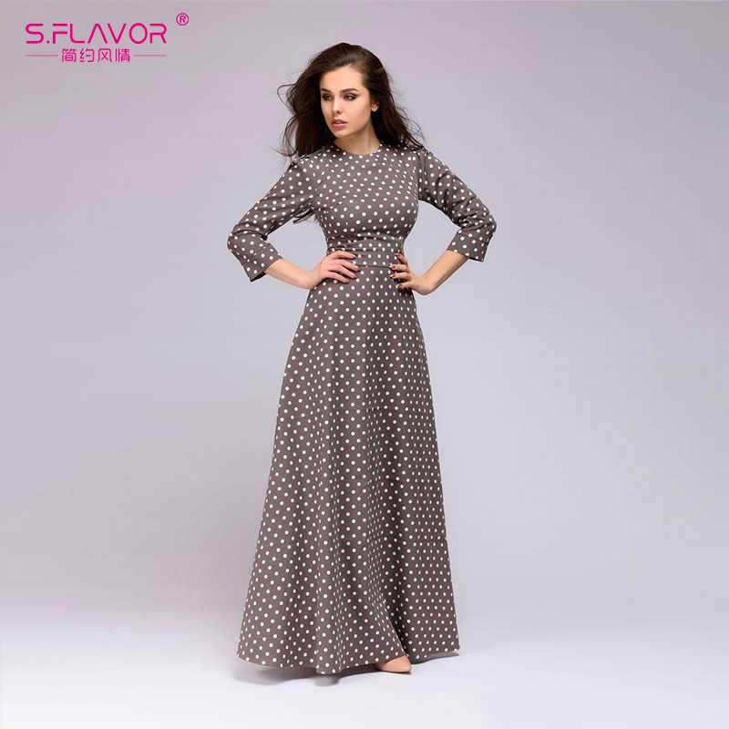Женское платье в стиле ретровейв S.FLAVOR, элегантное длинное винтажное платье на каждый день, платье с О-образным вырезом и рукавом 3/4 для весны и лета