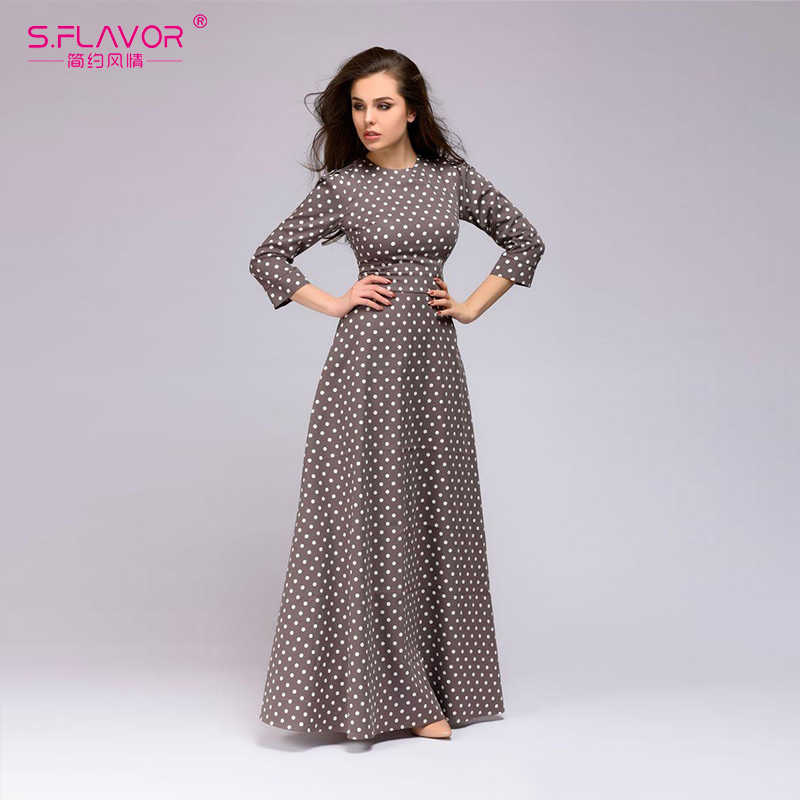 S. SMAAK Herfst Winter casual dress Retro golf punt lange jurk Vrouwen vintage stijl O-hals 3/4 mouwen Elegante vestidos