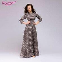 Saveur 2020 été tenue décontractée rétro vague point longue robe femmes vintage style o cou 3/4 manches élégant vestidos