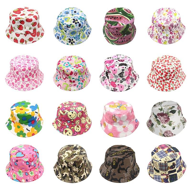 2-6T Unisex Children Bucket Hat Outdoor Casual Cap Girls Boys Summer Cartoon Print Fisherman Hat
