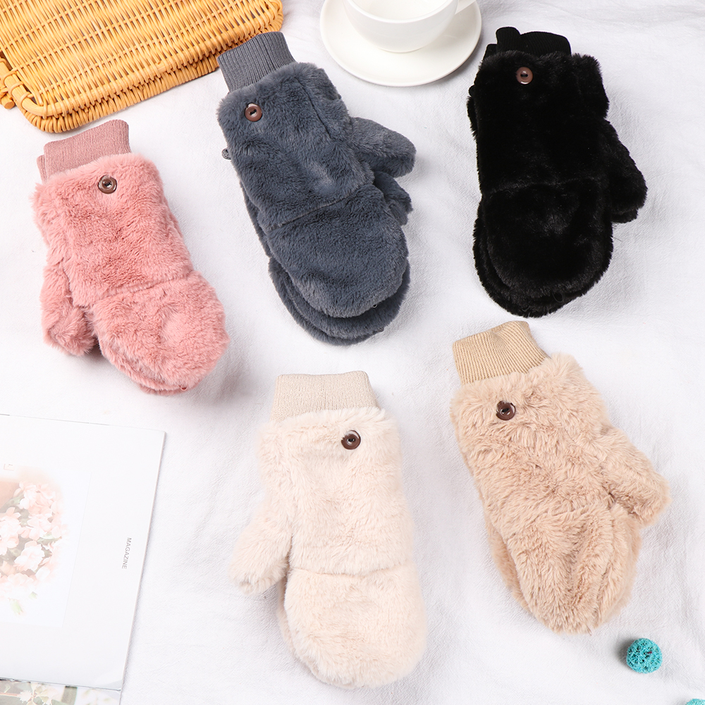 Fashion Winter Women Warm Gloves Mittens Windproof Plush Faux Fur Velvet Thicken Soft Stretch Flip Type Gloves Hand Warmer Hot