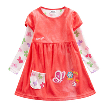 Girls Childrens Baby Corduroy Cotton Embroidered Long Sleeve Dress Autumn Thicken Outer Pocket