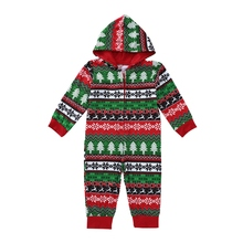 hilittlekids Christmas Print Onesies Parent-child Clothing Family Christmas Pajamas Suit Hooded Jumpsuit Pajamas