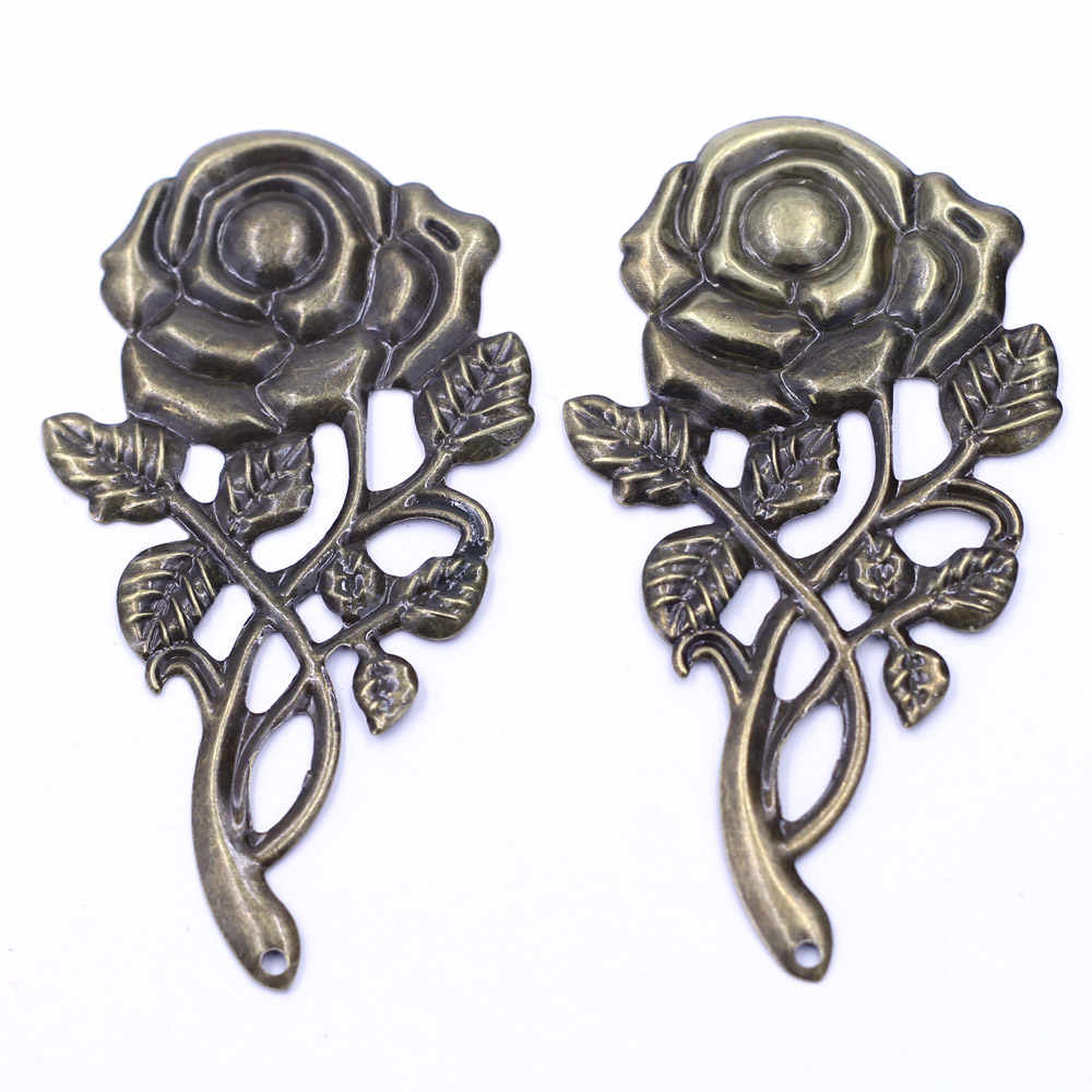 Pendants Connectors Rose Flower Butterfly Filigree Wraps Crafts For Embellishments Scrapbooking Jewelry DIY Accessories 10Pcs