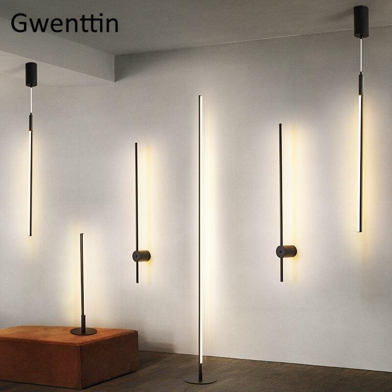Skandynawska minimalistyczna lampa Led podłogowa nowoczesny Led pionowy stojak lampa stołowa salon kinkiety światła wiszące Home Decor Luminaria