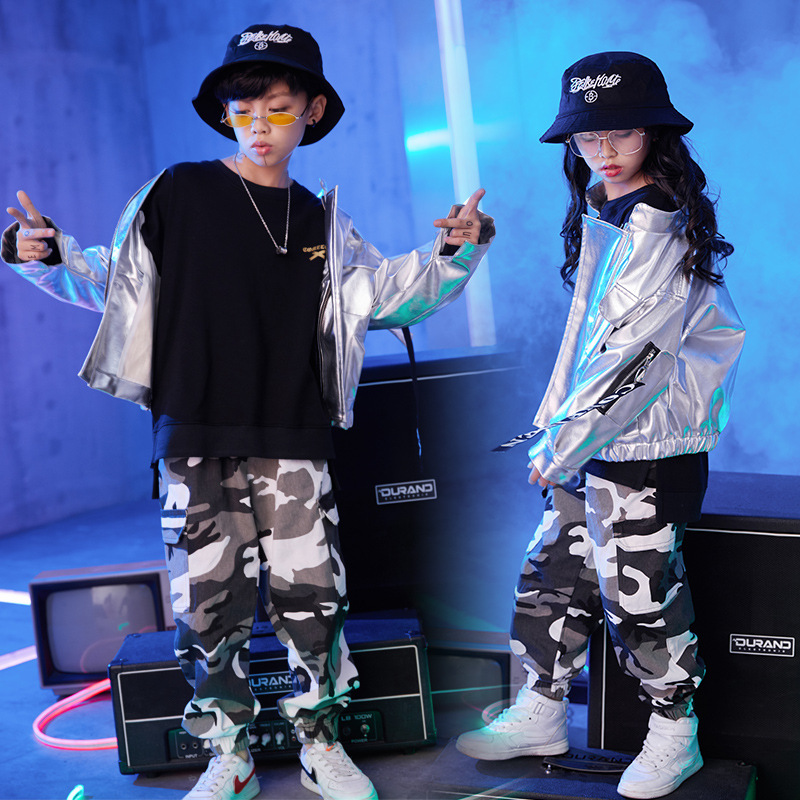 Kid Cool Hip Hop Clothing Silver Jacket Top Coat Camouflage Casual Pants For Girls Boys Ballroom Jazz Dance Clothes Costume Wear