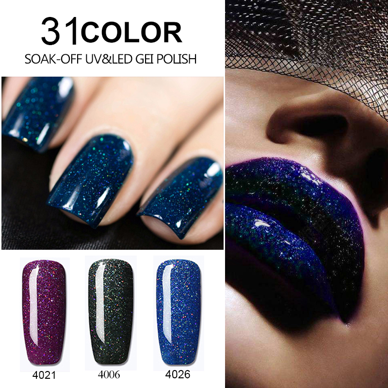 Bluesky Gel Varnish Neon Pigment Glitter Sticker Shining Gel Nail Polish Base And Top Needed Nails Painting Manicure Decorations