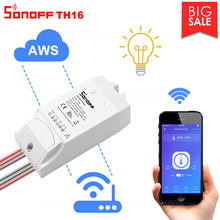 Interruptor inalámbrico inteligente Itead Sonoff TH16 Wifi compatible con monitoreo de temperatura y humedad a través de AM2301 funciona con Alexa Google Home(China)