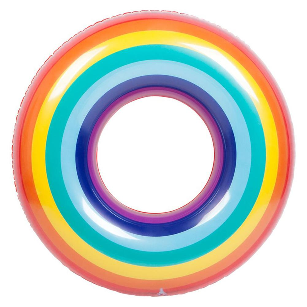 None Adults/Children Safety PVC Inflatable Swimming Ring Colorful Rainbow Design Floating Life Buoy