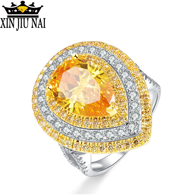 Water Drop Yellow Zircon Crystal From Rings For Women Exaggerate Female Citrine 12*9mm 925 Silver Fine Jewelry Gift