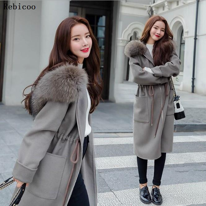 Casual Loose  Long Woolen Winter Coats Zipper Hooded Wool Coat And Jacket Sashes Pockets Solid Ladies Coats