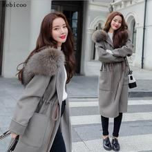 Casual Loose Long Woolen Winter Coats Zipper Hooded Wool Coat and Jacket Sashes
