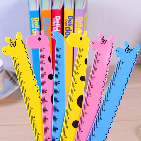 Korean-style Giraffe Series Ruler PVC Cartoon 15 Cm Plastic Ruler Young STUDENT'S Learning Stationery Wholesale