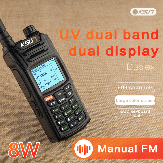 KSUN X UV68D (ماكس) لاسلكي تخاطب 8 واط عالية الطاقة ثنائي النطاق يده اتجاهين هام راديو التواصل HF جهاز الإرسال والاستقبال الهواة مفيد
