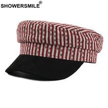 Showersmile красная полосатая винтажная военная шапка женская