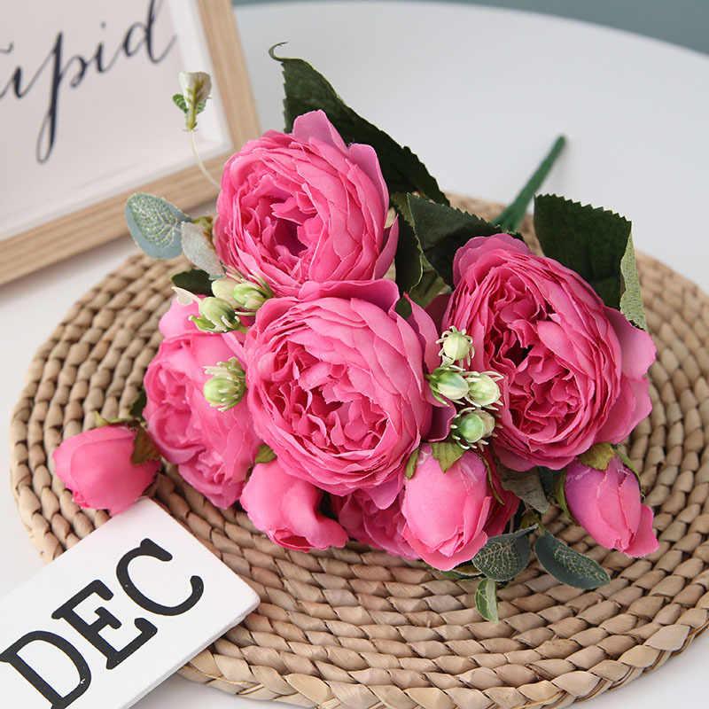 30 سنتيمتر الوردي الحرير الفاوانيا الزهور الاصطناعية باقة 5 رئيس كبير و 4 برعم رخيصة وهمية الزهور ل ديكورات منزلية لحفل الزفاف داخلي