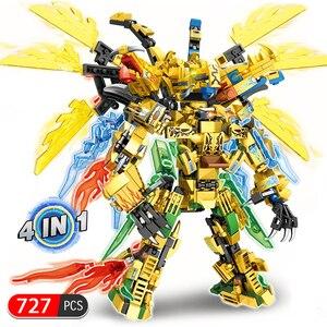 Image 5 - 4IN1 Lloyd Titan Mech Ninjagoed ile uyumlu Ninjagoed eğitim yapı taşları tuğla çocuklar için çocuk oyuncakları hediyeler