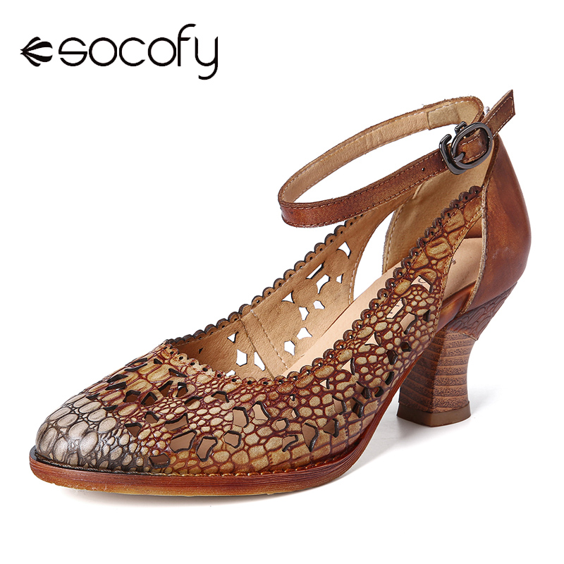 SOCOFY Retro Adjusatble Buckle Strap Hollow Pattern Embossed Pointed Leather Eleagant Pumps Shoes Women Shoes Botas Mujer 2020