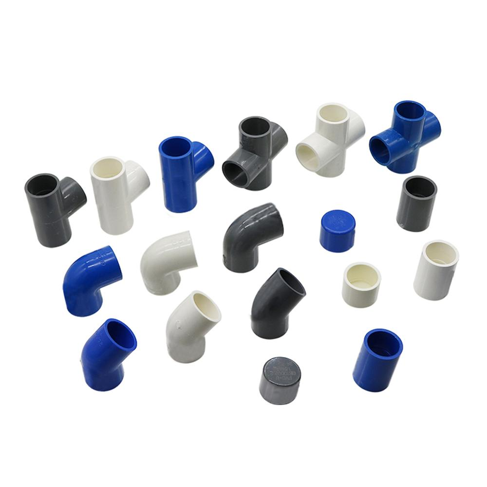 ID 25mm PVC Pipe Connectors Straight Elbow Solid Equal Tee Four-way Connectors End Caps Plastic Joint Irrigation Adapter 1 Pc