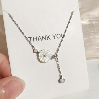 Sole Memory Shell Chrysanthemum Flower Shiny Fresh Lovely 925 Sterling Silver Clavicle Chain Female Necklace SNE555