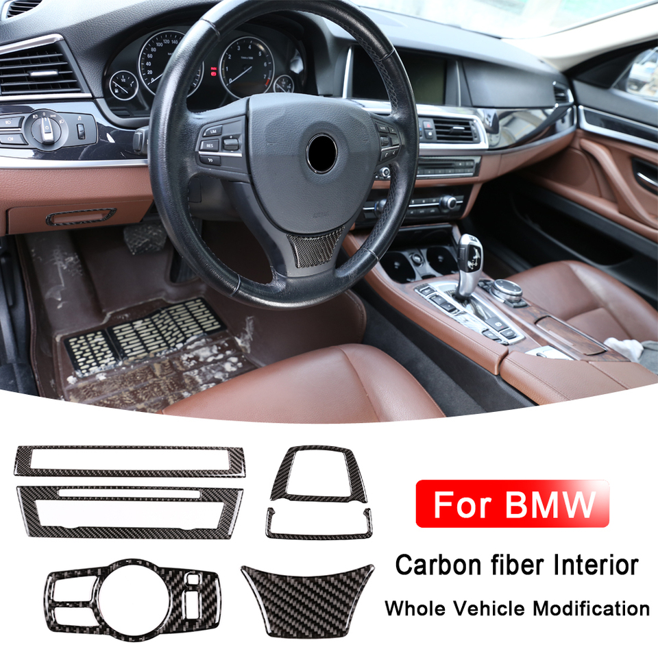 L//RHD Center Console Armrest Pad Cover Carbon Fibre Style For BMW 5 Series F10