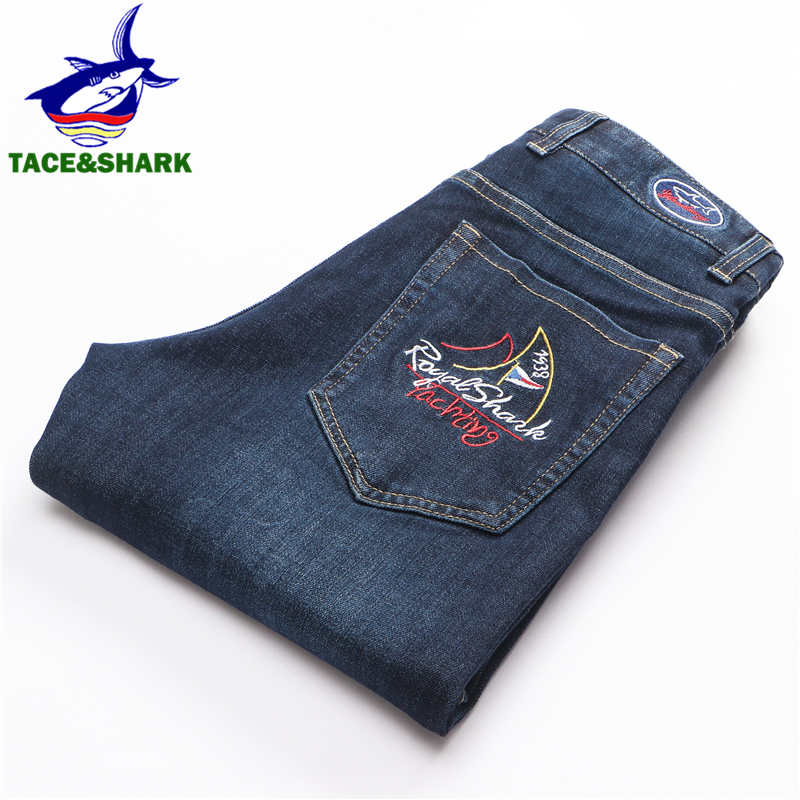 TACE&SHARK Fashion Brand Straight Jeans Mens Embroidery Skinny Jeans Male Business Casual Shark Denim Pants Homme Plus Size