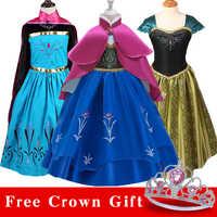 Enviar coroa do bebê meninas vestido de natal anna elsa cosplay traje de verão menina vestido de princesa para festa de aniversário vestidos menina