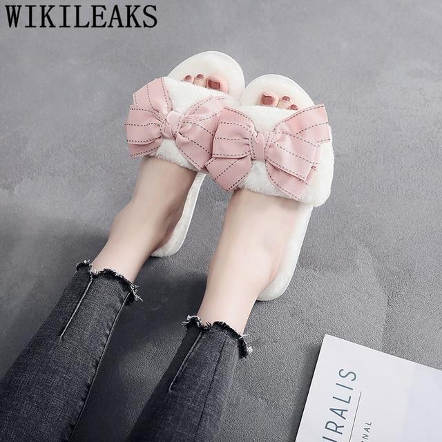 الفراء الشرائح السيدات غامض النعال الشتاء شقة المنزل النعال النساء الوردي لطيف نعال قماش أحذية نسائية 42 حجم كبير الأحذية النسائية