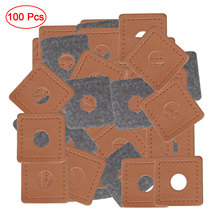 50/100Pcs Garment Sewing Patches PU Leather Sew On Badges Patch Tags Brass Metal Grommets Hoops Washers Apparel Fabrics Labels