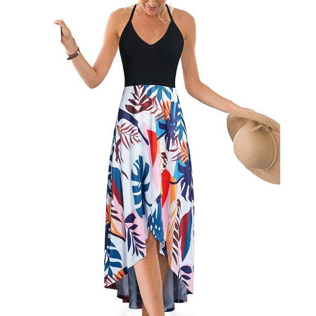 Longue robe dété Sexy pour femme, dos nu, imprimé Floral, sans manches, col en V, Maxi, irrégulière, dos nu, épaules dénudées, vêtement de plage