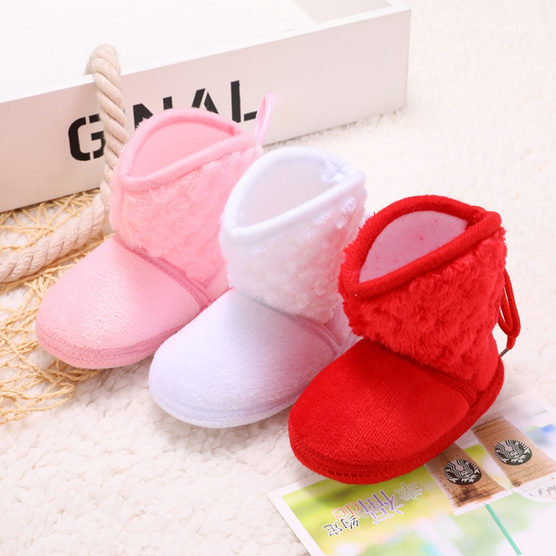 Newborn Kids Baby Boots Winter Plus Velvet Tie Flowers Warm Soft Cotton Booties Baby Girl Shoes 0-18M