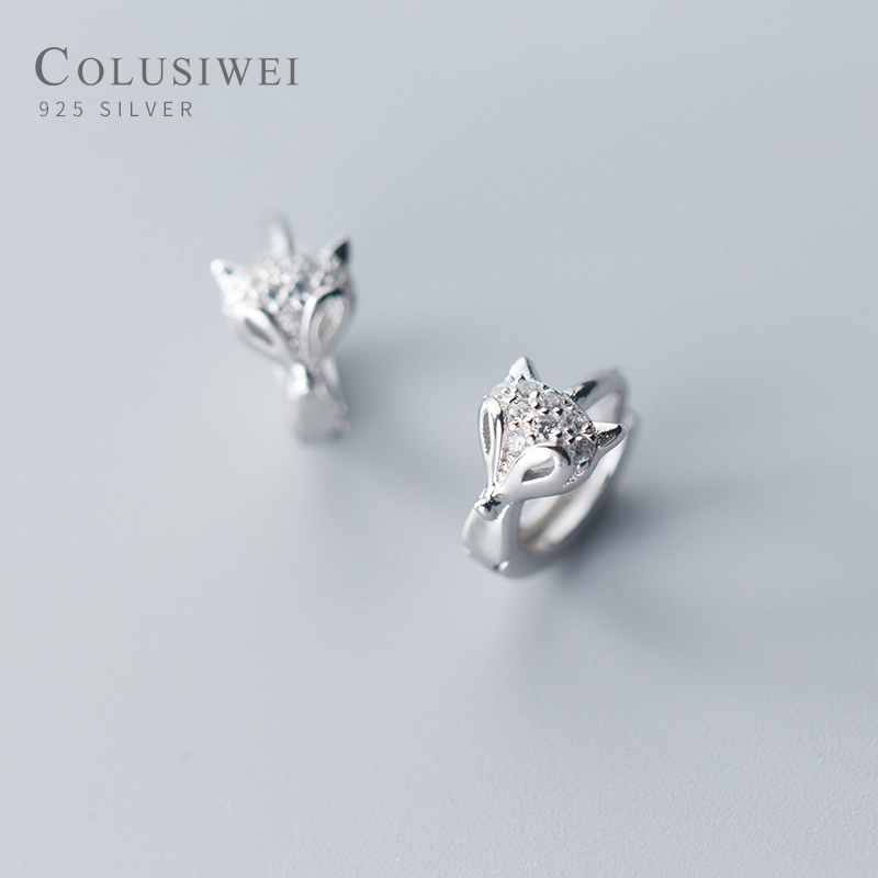 bamoer Real 925 Sterling Silver Fox Animal Hoop Earrings for Women Dazzling Clear CZ Fashion Fine Jewelry Female Accessories