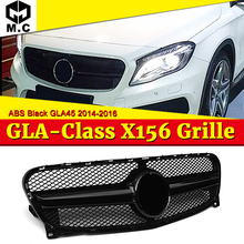 Fits For Benz X156 Front Grille Grill GLA45 Style ABS Gloss Black Without Sign GLA-Class GLA180 GLA200 GLA250 look grills 14-16 for mercedes benz gla x156 front grille silver abs gla45 amg gla180 gla200 gla250 without central logo front racing grille 14 16