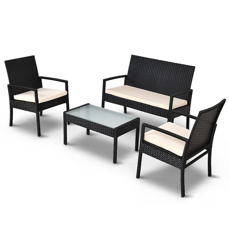 4-piece Outdoor Patio Furniture Set Table Chair Sofa Cushioned Seat Garden Lightweight Rattan Material Backyard