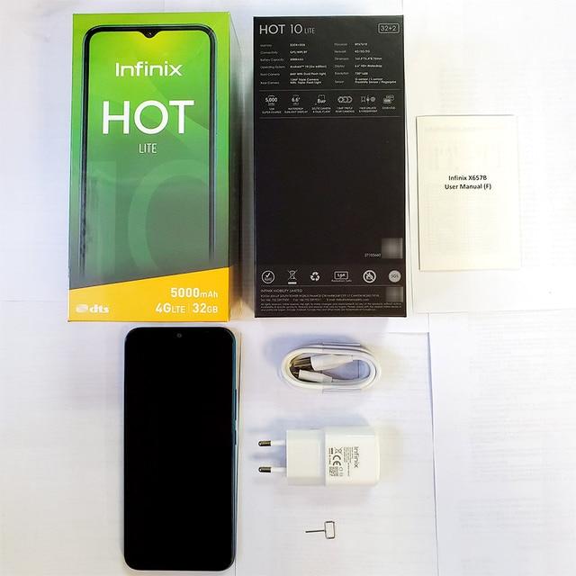 Global Version Infinix Hot 10 Lite 2GB 32GB Smart Phone 6.6''HD Screen Mobile Phone 5000mAh Battery 13MP AI Triple Camera 6