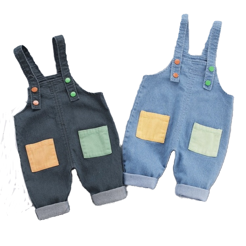 2020 Autumn Boys Suspender Pant New Patchwork Children's Cowboy Overalls Can Open Crotch for Boy Girls Overall Babies Trousers