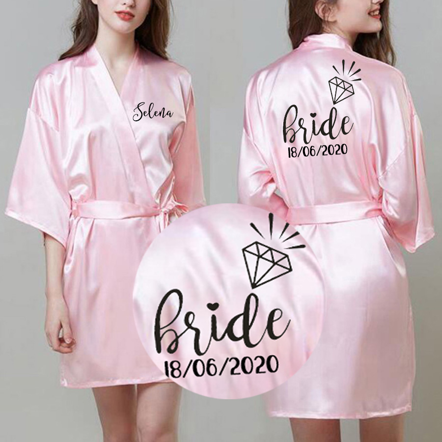 Bachelor Party Personalized Satin Silk Bride Robe Women Custom Name Wedding Date Bridesmaid Bride Tribe Bridal  Shower Robes