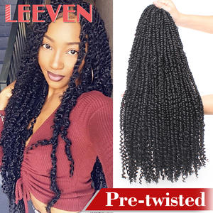 Leeven 22'' 15strands Pre Twisted Passion Twist Crochet Hair Pre-looped Fluffy Crochet Braid Hair Ombre Synthetic Braiding Hair