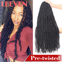 Leeven 22'' 15strands Pre Twisted Passion Twist Crochet Hair Pre-looped Fluffy Crochet Braid Hair Ombre Synthetic Braiding Hair(China)