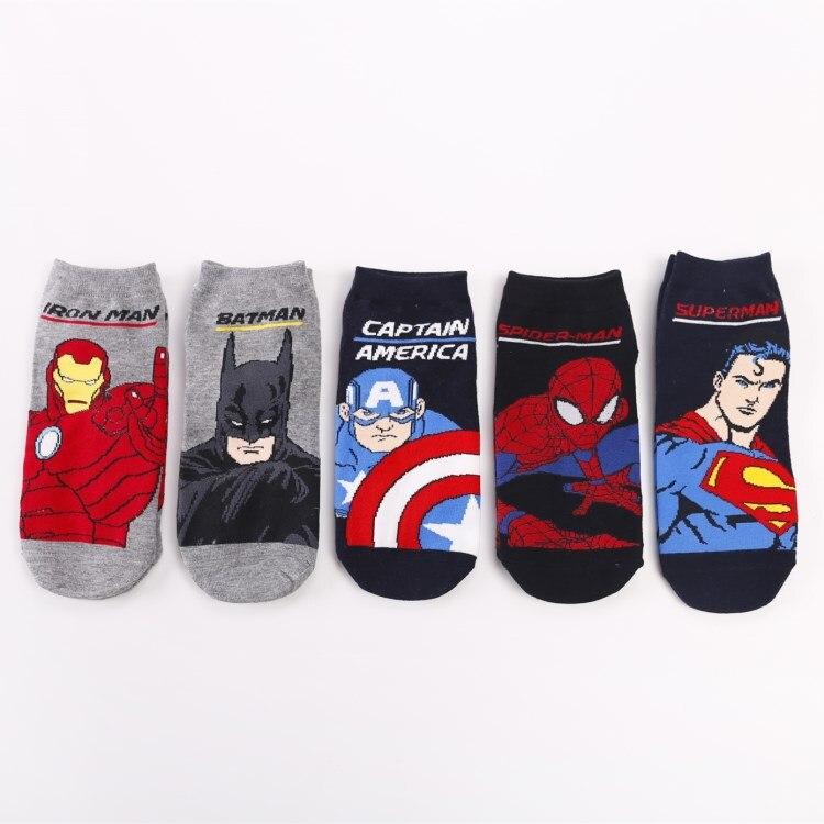 Men's Socks Superman Batman Cotton Spiderman Super Hero Cartoon Funny Men Socks Cool Comfortable Team Leader Cotton Casual New