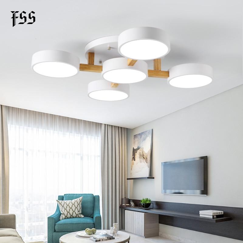 Fss Modern Nordic Wood Ceiling Lights Macaron Lighting For Living Room LED Lamp Bedroom Hall lamps Home Lighting Light Fixtures