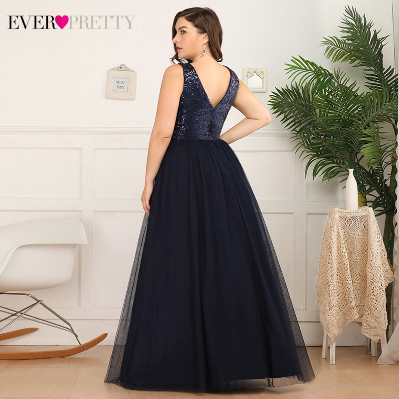 Plus Size Navy Blue Prom Dresses Ever Pretty Sequined A-Line Deep V-Neck Sleeveless Tulle Long Party Gowns Vestido De Festa