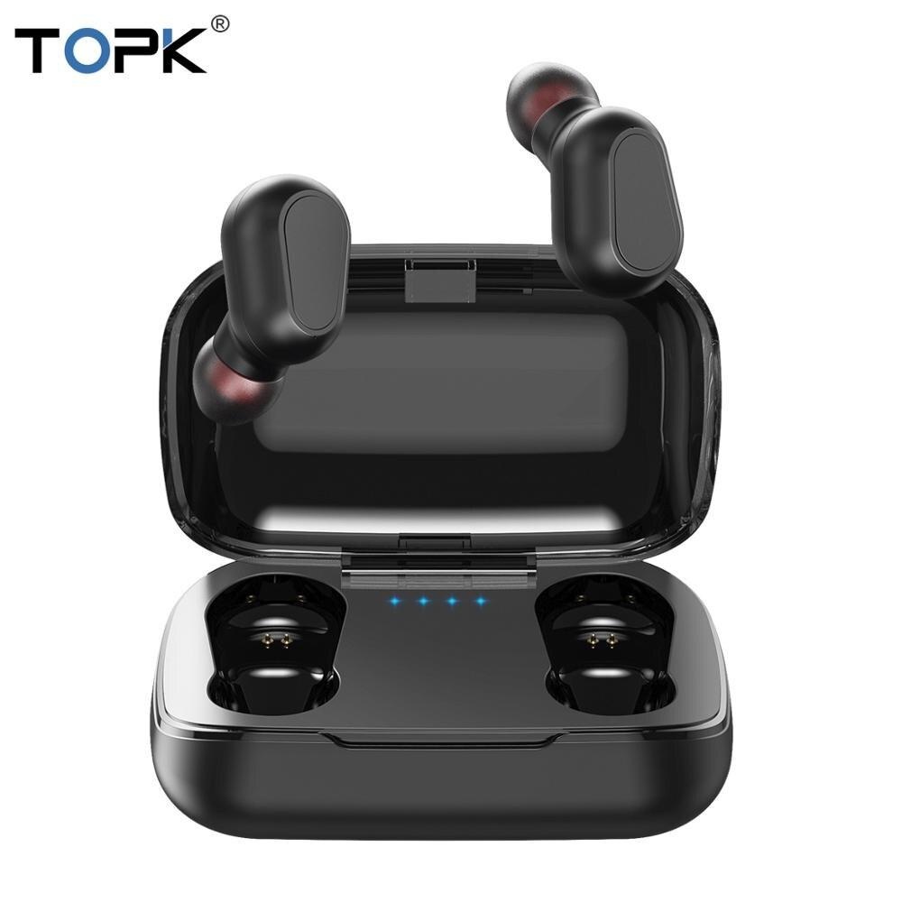 TOPK TWS Bluetooth 5.0 True Wireless Earphone Headphones With Mic LED Display Mini Cordless EarbudsFor Xiaomi IPhone