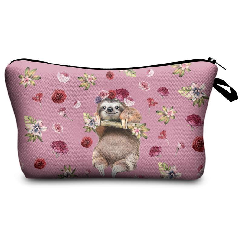 Women Makeup Bag  Cosmetic Bag With Multicolor Pattern Sloth 3D Printing Neceser Toiletry Bag Travel Makeup Organizer