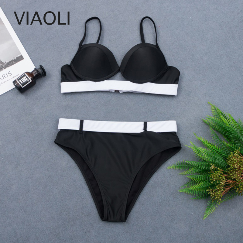 Black Swimsuit Sexy High Waist Push Up Bikini Set New Two Piece Swimwear Women Adjustable Shoulder Tankini Retro Bathing Suit