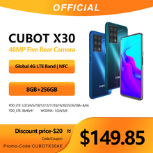 Cubot X30 Smartphone 48MP Five Camera 32MP Selfie 8GB+256GB NFC 6.4″ FHD+ Fullview Display Android 10 Global Version Helio P60