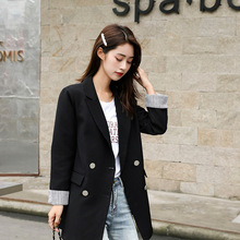 High quality ladies black blazer Autumn new double-breasted long-sleeved jacket female Korean temperament office top 2019