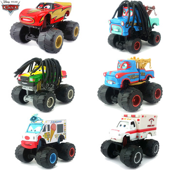 1 55 samochody Disney Pixar duże stopy długie włosy Mater pogotowia samochody zabawkowe zygzak McQueen Metal Diecast samochody zabawkowe dzieci urodziny prezent tanie i dobre opinie 3 lat Inne Certyfikat Disney Pixar Cars Samochód